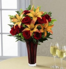 ROSES AND LILY ARRANGEMENT