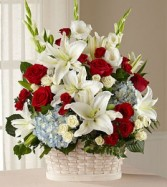 Basket Tribute White red and blue  One sided