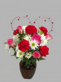 Because I Love You - Pink Roses Mixed Flowers