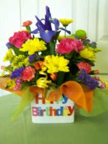 Birthday Bright cubed vase arrangement