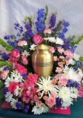 Blue and Pink Urn Wreath