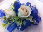 Blue crystal corsage