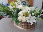Blue & White Tribute Funeral  Basket