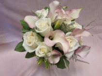 BLUSH CALLA'S AND IVORY ROSES  BRIDAL BOUQUET
