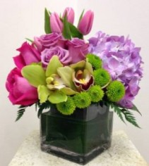 BREATH OF FRESH AIR Cymbidium Orchids, Hydrangea, Roses & Tulips