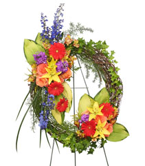 BRILLIANT SYMPATHY WREATH  Funeral Flowers in Moose Jaw, SK | ELLEN'S ON MAIN