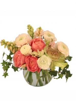 Calming Coral Arrangement in Lake Grove, NY | LAKE GROVE VILLAGE FLORIST