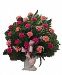 Carnation Funeral Spray Carnation Arrangement With Greens and Fillers