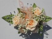 Champagne Roses with Peach Ribbon & Rhinestones