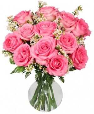 Chantilly Pink Roses Arrangement in Storrs, CT | THE FLOWER POT