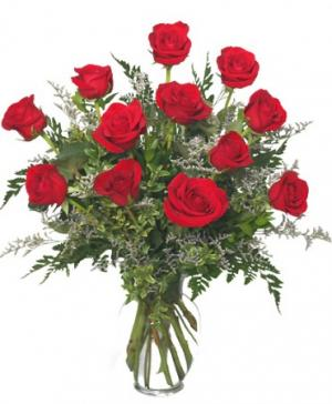 Classic Dozen Roses Red Rose Arrangement in Ceres, CA | THE FLORAL COTTAGE