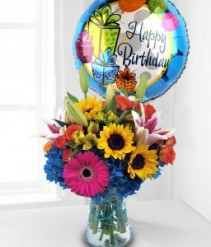 Colorful Birthday Flower and Balloon Arrangement