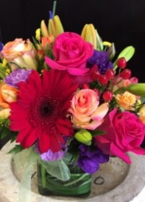 Colorful floral mixed cube bouquet