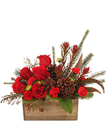 Country Christmas Box Arrangement