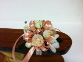 Cream and Peach corsage wrist corsage - small size