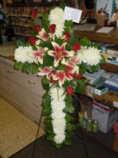 Cross with Lilies (Sp 26) Standing Spray