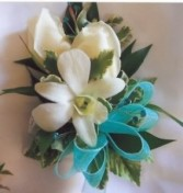 Dendrobium and spray rose, teal ribbon We can use different color flower, ribbon , etc.