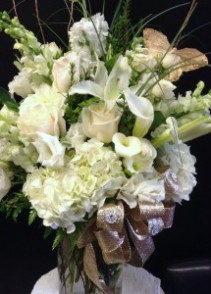Elegant anniversary bouquet in shades of white.