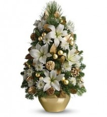 Elegant Gold and White Boxwood Christmas
