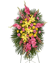 ENDURING LOVE STANDING SPRAY Funeral Flowers in Medicine Hat, AB | AWESOME BLOSSOM