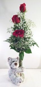 Fendley Bear Hugs Fresh Flowers in container with plush