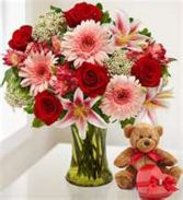 Forever Love Bouquet Flowers, Chocolates and Bear