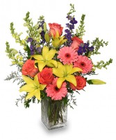 SPRING BLUSH BOUQUET Floral Arrangement Best Seller in Didsbury, AB | VICTORIA'S FLOWERS & GIFTS