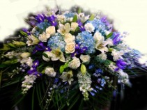 Purple And White Garden Of Memories Casket Spray