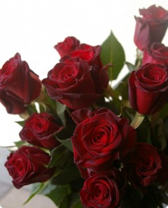 Gathered Red Roses Handtied Bouquet