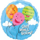 Get Well Balloon Bouquet 3 Mylar, 5 Latex Balloons & Sm Bear