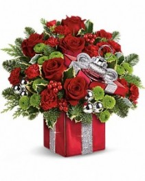 Gift Wrapped With Love Christmas Flowers