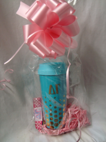 Gold and blue Delta Gamma tumbler and polka dot  keychain!