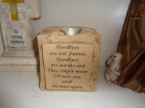 Goodbyes are not forever. Cement Sympathy Candle