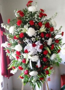 Graceful Red & White Funeral Standing Spray
