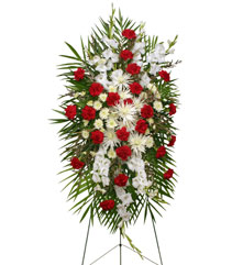 GRACEFUL RED & WHITE Standing Spray of Funeral Flowers in North Oaks, MN | HUMMINGBIRD FLORAL