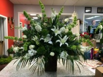 Green and White Classic Sympathy Arrangements