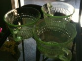 Green Vintage Glassware In our Antiques & Gift Shop