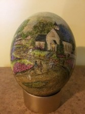 Hand Painted Ostrich Egg Country Church Scene
