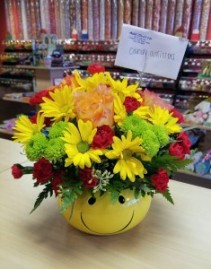 Happy Day Arrangement  Smiley face with bright spring arrangement