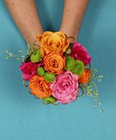 HOT PINK & ORANGE Handheld Bouquet in West Hills, CA | RAMBLING ROSE FLORIST