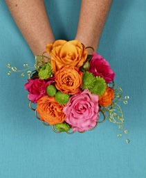 HOT PINK & ORANGE Handheld Bouquet