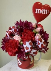 I love Red! M & M Mug  Arrangement