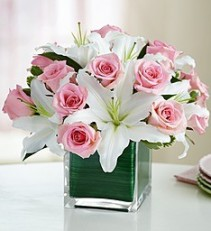 Hugs and Kisses, XOXO Fragrant White Star Lilies and Pink Roses