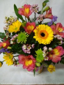 Cute Mug Arranged with Bright Mixed flowers!