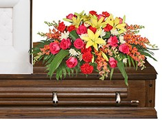 IN LOVING MEMORY Casket Spray in Michigan City, IN | WRIGHT'S FLOWERS AND GIFTS INC.