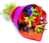 Wrapped bright flowers to someone who has a vase  and likes to arrange flowers!