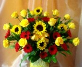 Bright shades of yellows and reds arranged flowers