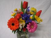 Popular Cube Vase Mixed Flower arrangements!! Seasonal bright  flowers used. in Oxford, OH | OXFORD FLOWER AND SORORITY GIFT SHOP
