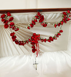 Large Casket Rosary With Red Spray Roses  in Fair Lawn, NJ | DIETCH'S FLORIST