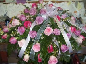 Love Blooms in Pink & Lavendar Casket Spray in Kanab, UT | KANAB FLORAL & CERAMIC SHOP